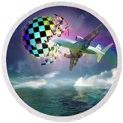 Round Beach Towel featuring the digital art Rainbow Set Free by Rosa Cobos