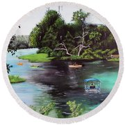 Rainbow Springs In Florida Round Beach Towel