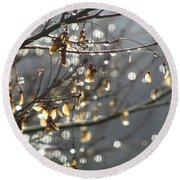 Raindrops And Leaves Round Beach Towel