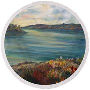 Round Beach Towel featuring the painting Rainy Lake Michigan by Julie Brugh Riffey