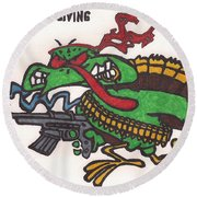 Round Beach Towel featuring the drawing Rambo Turkey by Jeremiah Colley