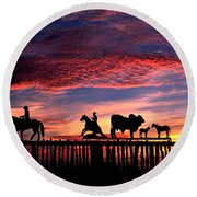 Texas Ranch Gate At Sunrise Round Beach Towel
