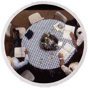 Ranchers At The Round Table Round Beach Towel
