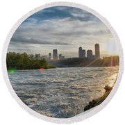 Round Beach Towel featuring the photograph Rapids Sunset by Michael Frank Jr
