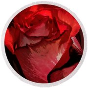 Rare Red Rose Round Beach Towel