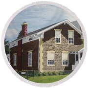 Round Beach Towel featuring the painting Rasey House by Norm Starks