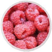 Raspberries Round Beach Towel by Carol Groenen