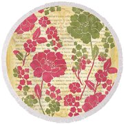 Raspberry Sorbet Floral 2 Round Beach Towel