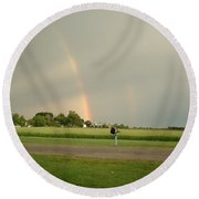 Round Beach Towel featuring the photograph Ray Bow by Bonfire Photography