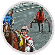 Round Beach Towel featuring the photograph Ready To Race by Alice Gipson