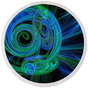 Record Time Machine Green And Blue Round Beach Towel