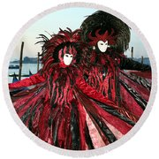 Red And Black Winged Couple At Sunrise Round Beach Towel