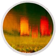 Round Beach Towel featuring the photograph Red And Orange Chairs by Les Palenik