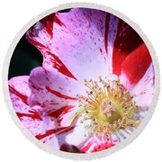Red And White Speckled Flower Round Beach Towel