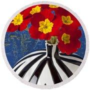 Red And Yellow Primrose Round Beach Towel