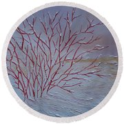 Round Beach Towel featuring the painting Red Branches by Judith Rhue