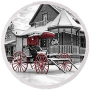 Round Beach Towel featuring the photograph Red Buggy At Olmsted Falls - 2 by Mark Madere