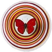 Red Butterfly On Plate With Many Circles Round Beach Towel