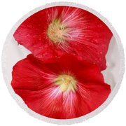 Red Hollyhocks Round Beach Towel