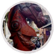 Round Beach Towel featuring the photograph Red Horse Head Post by Alys Caviness-Gober