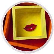 Red Lips In Yellow Box Round Beach Towel