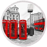 Round Beach Towel featuring the photograph Red London by Luciano Mortula