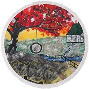 Round Beach Towel featuring the painting Red Maple  Swing by Jeffrey Koss