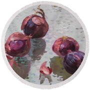 Red Onions Round Beach Towel by Ylli Haruni