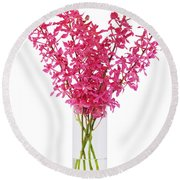 Red Orchid In Vase Round Beach Towel