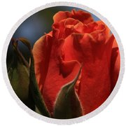 Red Rose Bud Round Beach Towel