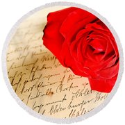 Red Rose Over A Hand Written Letter Round Beach Towel