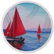 Round Beach Towel featuring the painting Red Sails On Irish Coast by Julie Brugh Riffey