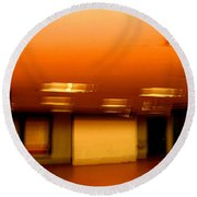 Round Beach Towel featuring the photograph Red Subway by Andy Prendy