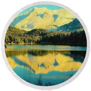 Round Beach Towel featuring the photograph Reflecting On Auke Lake by Myrna Bradshaw