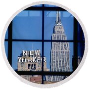 Reflection Empire State Building Round Beach Towel