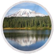 Reflection Lake - Mt. Rainier Round Beach Towel