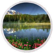 Round Beach Towel featuring the photograph Reflection Lakes by William Lee