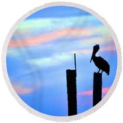 Round Beach Towel featuring the photograph Reflections In Water With Pelican by Dan Friend