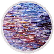 Round Beach Towel featuring the painting Reflections by Kume Bryant