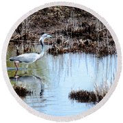 Reflections Of A Blue Heron Round Beach Towel