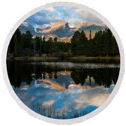 Reflections On A Lake Round Beach Towel by Anne Rodkin
