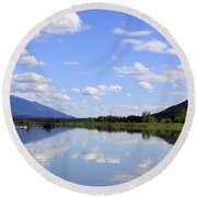 Round Beach Towel featuring the photograph Reflections On Swan Lake by Nina Prommer
