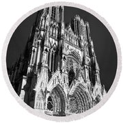 Reims Cathedral Round Beach Towel