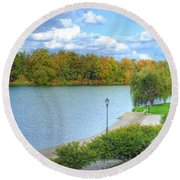 Round Beach Towel featuring the photograph Relaxing At Hoyt Lake by Michael Frank Jr