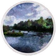 Round Beach Towel featuring the painting Rideau River View From A Bridge by Mario Carini