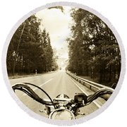 Riders Eye Veiw In Sepia Round Beach Towel