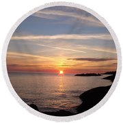 Round Beach Towel featuring the photograph Rising Sun by Bonfire Photography