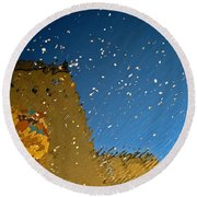 Round Beach Towel featuring the photograph River Crossing Border Crossing by Andy Prendy