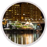 River Front At Night Round Beach Towel