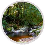 River In Cawdor Big Wood Round Beach Towel